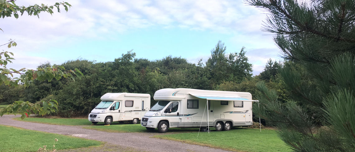 Mototrhome pitches at Strawberry Hill Farm Caravan Park